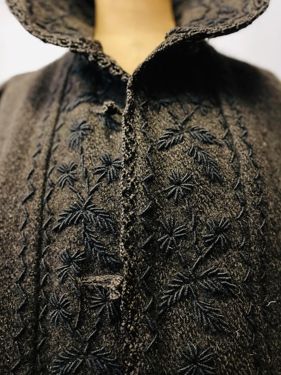 1930's European Folk Wool Hand Embroidered Coat
