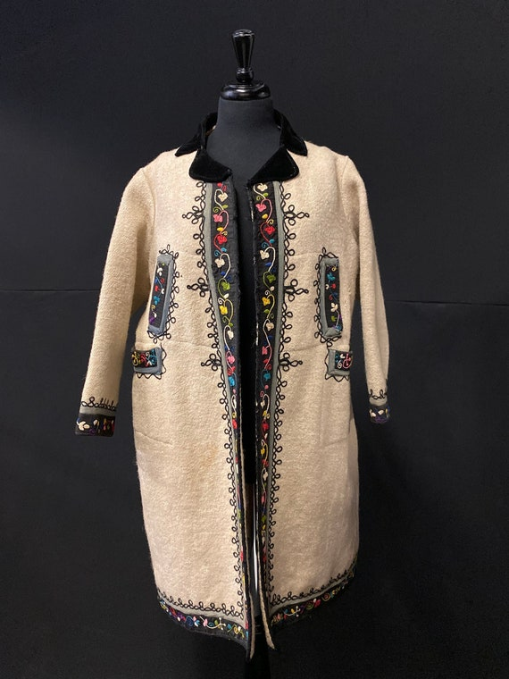 1930's European Folk Coat Wool Hand Embroidered