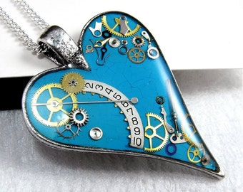 Turquoise Blue Steampunk Heart Pendant, Steampunk jewelry, Clockwork heart, Mechanical Heart, Turquoise Heart Necklace, Resin Blue Heart