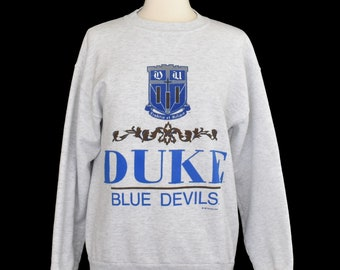 e22ed0e0 Vintage 90s Duke Blue Devils Crewneck, 1990s Duke University Spell Out  Sweatshirt, Size Medium to Large