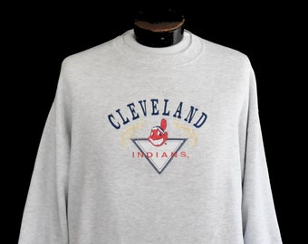 1feb7362 Cleveland Indians Sweatshirt, Vintage 90s Indians Sweatshirt, 1990s Chief  Wahoo Embroidered Jumper, Over Sized, Size Large to XL