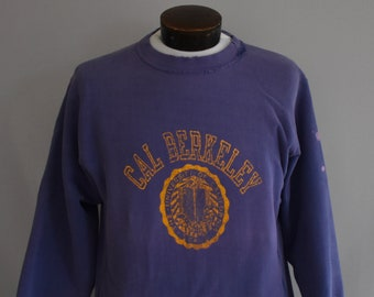 8012f6bfaaf4 Cal Berkeley Sweatshirt, Vintage 90s University of California Jumper, 1990s  Reverse Weave Champion Shirt, Destroyed, Size Medium to Large