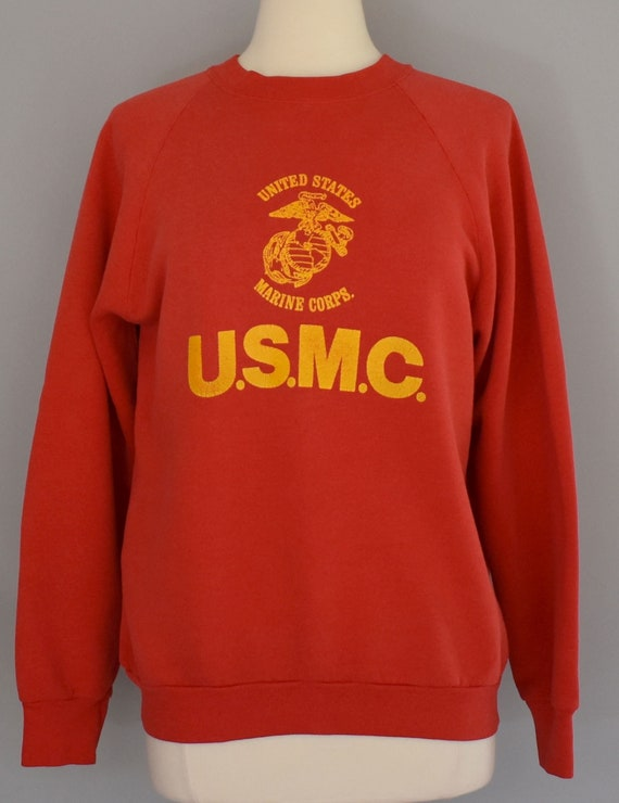US Marine Corps Sweatshirt, Vintage 80s United States Military Shirt, 1980s USMC Red Raglan Jumper, Size Medium to Large