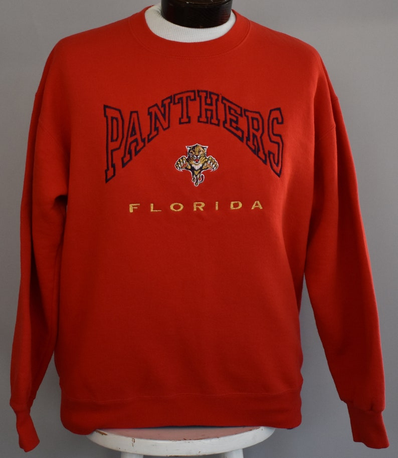 sports shoes 8d341 6e008 Florida Panthers Sweatshirt, Vintage 90s Hockey Pullover, 1990s NHL  Embroidered Jumper, Size Large to XL
