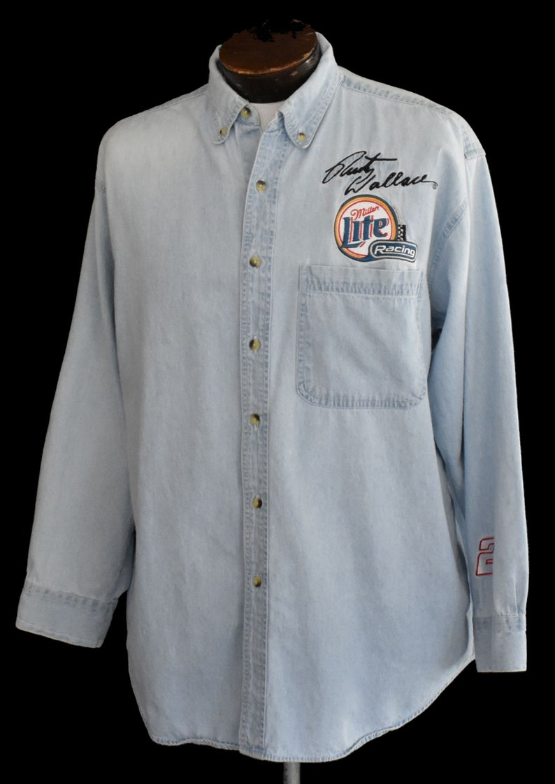 Rusty Wallace Denim Shirt 1990s Nascar Button Front Vintage 90s Miller Lite Racing Shirt Size Large to XL