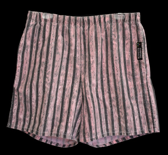 dbc71e153da Vintage 80s 90s Striped Swim Trunks 1980s 1990s Beach Shorts