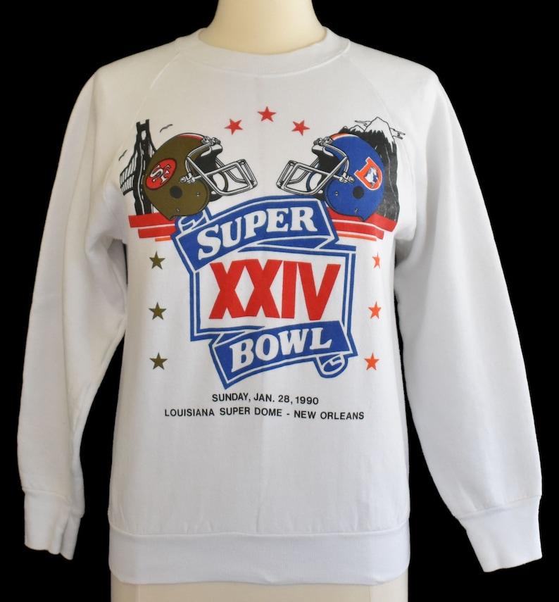 timeless design b6bdc 4c02f San Francisco 49ers Sweatshirt, Vintage 90s Denver Broncos Raglan, 1990s  Super Bowl Jumper, Size Small to Medium
