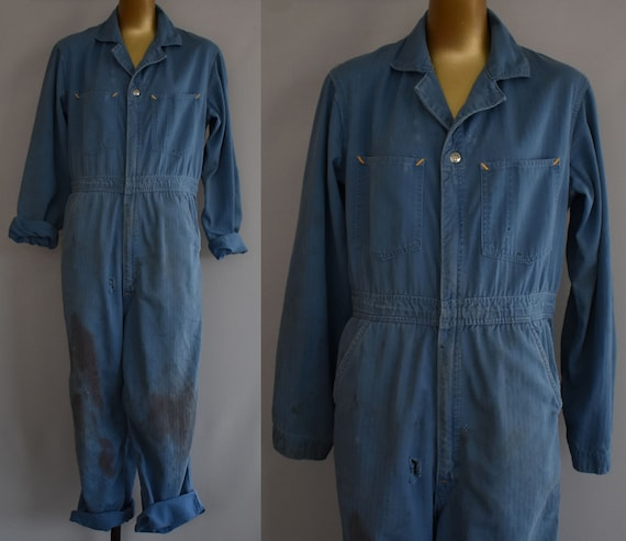 Vintage Blue Coveralls, 40s Can't Bust Em Mechanic