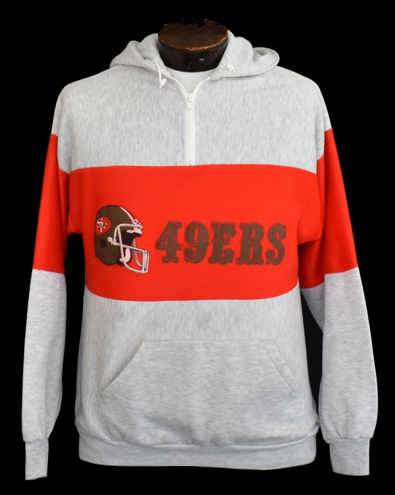 finest selection 244ab ed1c6 San Francisco 49ers Sweatshirt, Vintage 80s SF 49ers Hoodie, 1980s Quarter  Zip NFL Jumper, Size Medium to Large