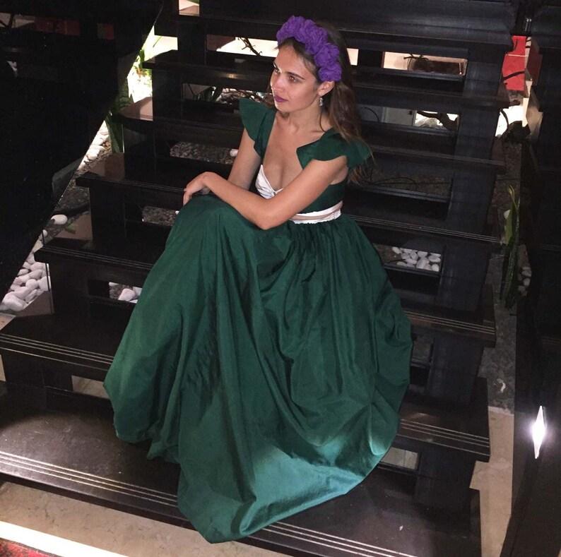 7a30689c06b87 Bohemian Wedding Dress Prom Dress Two Pieces Bridesmaids Green Silk Long  Ball Skirt Formal Gown Unique Handmade Free Worldwide Shipping