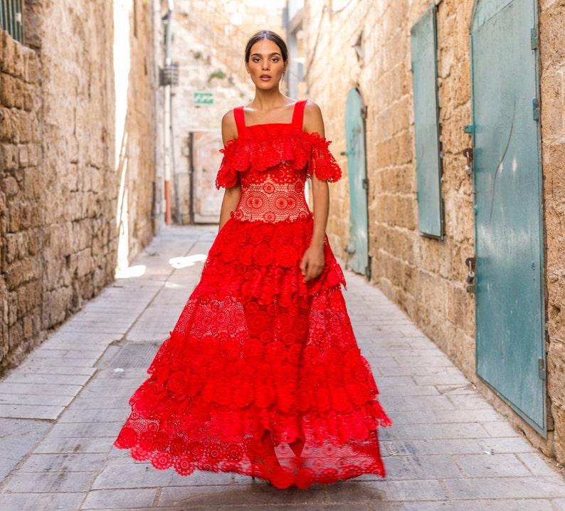d2ef553971 Bohemian Wedding Dress Red Lace Sleeveless Women s Wedding