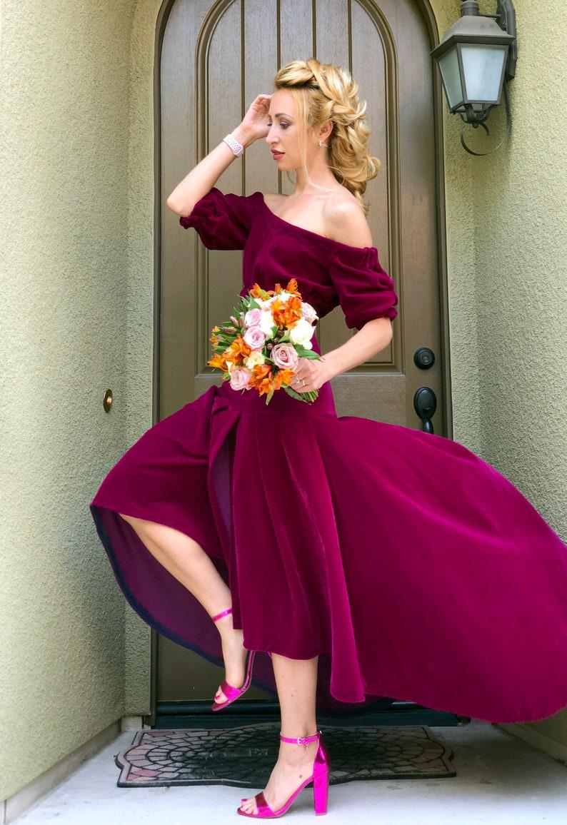 e8b2990096f52 Maxi Velour Pleated Skirt Asymmetric Hem Long Red Party Evening Free  Worldwide Shipping
