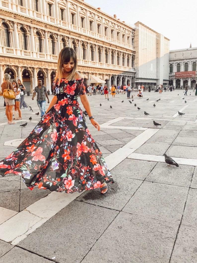 686e079d34fc Off Shoulder Dress Women s Black Floral Chiffon Prom Gown