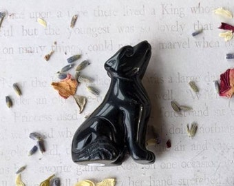 BLACK OBSIDIAN - Wolf Totem/Fetish - Chakra Crystal - Altar Decoration - Animal Totem Carved Crystal