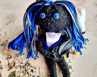 Nuit the Night Mother - Herb-stuffed Poppet - Night Protection and Insomnia Spirit Voodoo Doll with Taglock Pouch - Goddess Doll - Amethyst