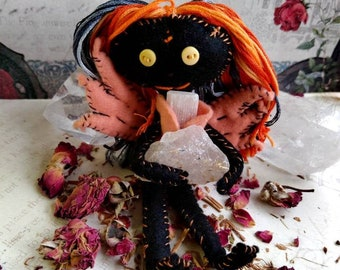 Sorielle the Samhain Fae - Herb-stuffed Poppet - Ancestor Honoring Voodoo Doll with Taglock Pouch - Halloween Sabbat