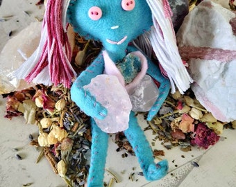 True the Two-Spirited - Herb-stuffed Poppet - Transgender Pride and Support Spirit Doll with Taglock Pouch - Strength and Self-Love