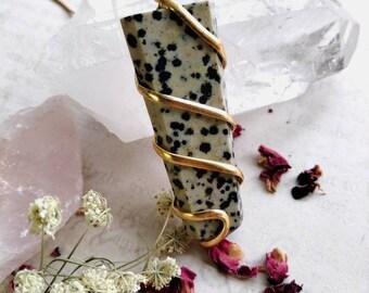 Dalmatian Jasper Necklace with Garnet - Reiki Healing Crystal Jewelry - Gemstone Point - Polished - Spiritual & Meditation Jewelry
