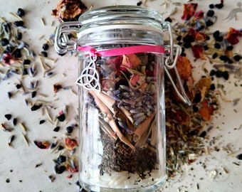 Fertility & Child Protection Spell Jar - Herb Mix with Clear Quartz Point - Spell Mix - Cleansing - TTC - Handmade