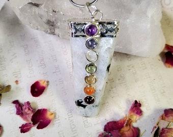 Rainbow Moonstone with Seven Chakra Crystals - Reiki Healing Crystal Necklace - Gemstone Point - Polished - Spiritual & Meditation Jewelry 2