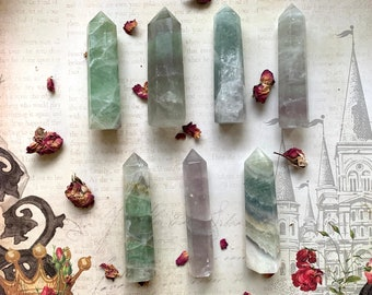 GREEN FLUORITE - Obelisk - Reiki Crystal Healing - Pillar/Tower - Positivity, Anti-anxiety, Concentration - Healing