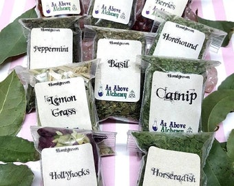 SPRING SALE - Set of Homegrown Herbs - 10 Count - DIY Incense, Potion, Spell - Herbs & Resins - Witchcraft Supplies - Wildcrafted