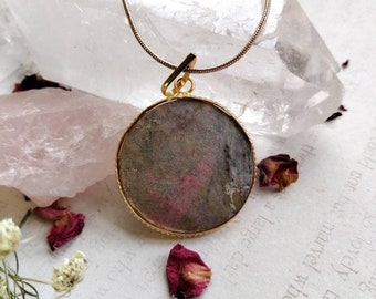Pink Opal Pendant Necklace - Faceted - Reiki Healing Crystal Jewelry - Gemstone - Polished - Spiritual, Meditation
