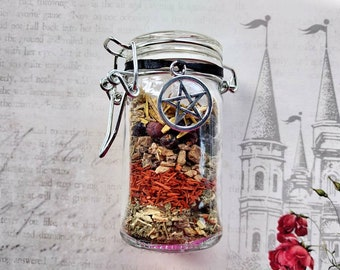 Magick Mirror - Curse Reversal Spell Jar - Herbal with Carnelian - Spell Mix - Protection, Banishing - Handmade - Witchcraft