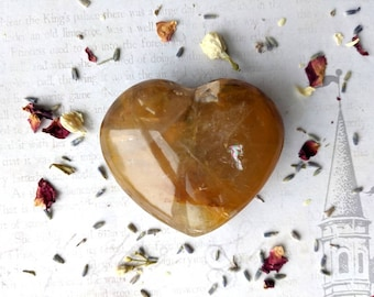 GOLDEN HEALER - Puffy Heart - 71 mm, 189 grams - With Rainbows -