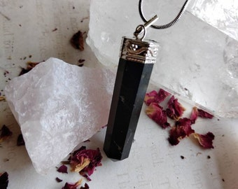 Black Tourmaline Point Pendant - Reiki Healing Crystal Jewelry - Gemstone Point - Polished - Spiritual & Meditation Jewelry