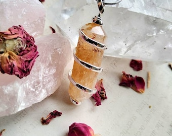 Citrine Point Wire Wrapped Necklace - Reiki Healing Crystal Jewelry - Gemstone Point - Polished