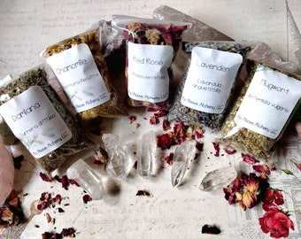 DIY Aromatherapy - Set of Five Most Popular Herbs - Rose, Lavender, Mugwort, Chamomile, Damiana - Sachets, Bath Mixes