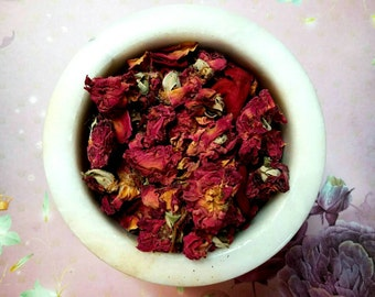 Red Rose Buds and Petals - Rosa centifolia - Herbalist Herbs - Love, Healing, Protection, Luck - Incense Supplies