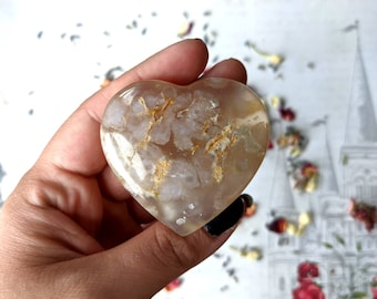 FLOWER AGATE - Polished Heart - 55 mm, 60 grams - With Iron Deposits