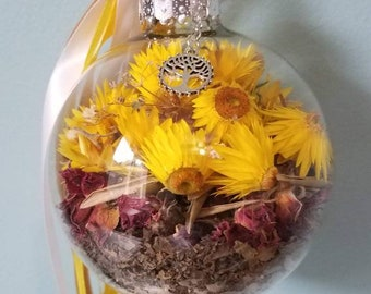 Baby Blessings - Witch Ball - Gender Neutral - Handmade with Homegrown Herbs - Fertility and Baby - Sun and Dream Catcher - Baby Shower