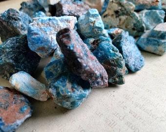 NEON BLUE APATITE - Rough - Specimen Stone - Chakra Crystal - Altar Deoration - Reiki Grid - Meditation Stone - Cleansing Stone