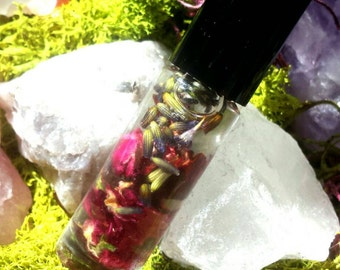 Faerie Anointing, Spell, & Perfume Oil - Rose, Lavender, Hibiscus - Spell Oil or Daily Perfume - Roll On