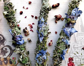 Hand-Wrapped Smudge Sticks with Homegrown Herbs - Hibiscus, Mugwort, Peppermint, Oregano, Green Sage, Crystals - Protection and Cleansing