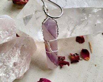 Banded Amethyst Wire Wrapped Necklace - Reiki Healing Crystal Jewelry - Gemstone Point - Polished - Spiritual, Meditation Jewelry