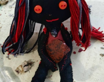 Prisma The Protector - Herb-stuffed Poppet - Protection Voodoo Doll with Taglock Pouch - Obsidian and Tourmaline - Red and Black -Protection