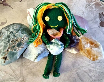 Poppie the Prosperous - Herb-stuffed Poppet - Prosperity Voodoo Doll with Taglock Pouch - Moss Agate and Citrine - Spirit Goddess Doll