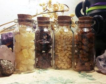 Resin Set of 4 - DIY Incense, Herbal Alchemy, Wiccan & Pagan Spells, Resin Kit - Corked Vials