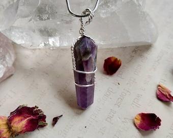 Deep Banded Amethyst Wire Wrapped Necklace - Reiki Healing Crystal Jewelry - Gemstone Point - Polished - Spiritual, Meditation Jewelry #3