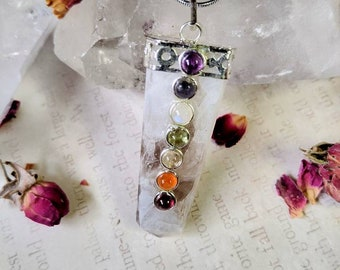 Rainbow Moonstone with Seven Chakra Crystals - Reiki Healing Crystal Necklace - Gemstone Point - Polished - Spiritual & Meditation Jewelry 1