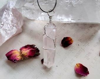Rose Quartz Point Necklace - Wire Wrapped - Reiki Healing Crystal Jewelry - Gemstone - Polished - Spiritual, Meditation Jewelry #4