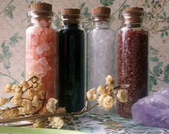 Salt Set of 4 - DIY Incense, Herbal Alchemy, Wiccan & Pagan Spells, Protection - Corked Vials