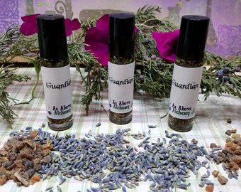Guardian Protection Oil - Angelica Root, Lavender, Myrrh, Cedar Tips - Anointing Spell Oil - Roll On
