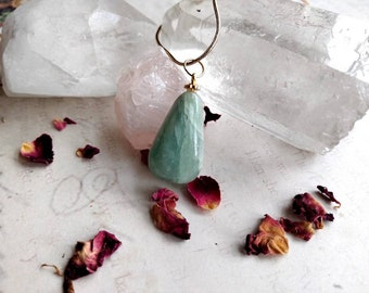 Aventurine Faceted Pendant Necklace - Wire Wrapped - Reiki Healing Crystal Jewelry - Gemstone - Polished - Spiritual, Meditation Jewelry
