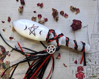 As Above, So Below - Hand-Carved & Painted Athame - Selenite - Dagger - Ritual Knife Tool - Cord Magic - Ribbon - Witchcraft Tool