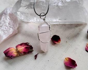 Rose Quartz Point Necklace - Wire Wrapped - Reiki Healing Crystal Jewelry - Gemstone - Polished - Spiritual, Meditation Jewelry #3